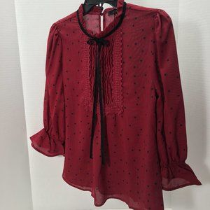 Mine 3/4 sleeve red with black polka dots Sz M